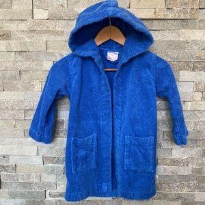 Kids Cotton Blue Hooded Bathrobe Size 6
